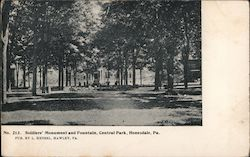 Soldiers' Monument and Fountain, Central Park Postcard