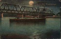 A Moonlight Scene on the Mississippi Postcard