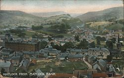View of Town From Bank Postcard