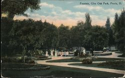 Fountain, Glen Oak Park Postcard