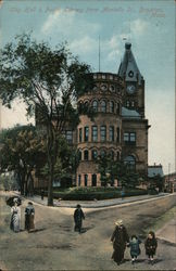 City Hall & Public Library From Montello St. Postcard