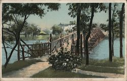 Rustic Bridge Over the Lake Postcard