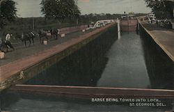 Barge Being Towed Into Lock Postcard