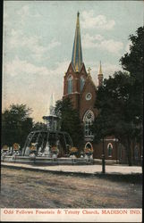 Old Fellows Fountain & Trinity Church Postcard