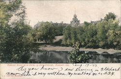 Elkhart River with Hotel in Back Ground Postcard