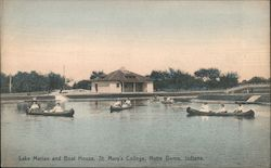 Lake Marian and Boat House, St. Mary's College Postcard
