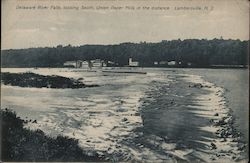 Delaware River Falls, Looking South, Union Paper Mills in the Distance Postcard