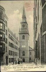 Washington Street And Old South Church Postcard