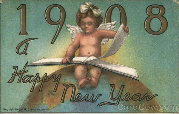 A Happy New Year 1908 - Angel Turning the Page Angels & Cherubs