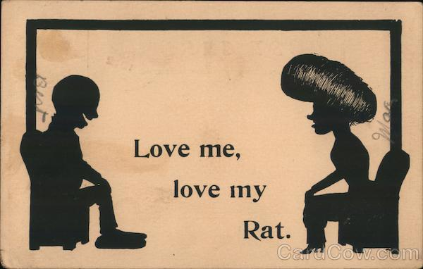 Love me, love my Rat. Silhouette of cartoon couple.