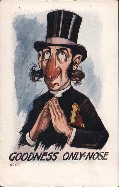 Cartoon Priest with a Large Red Nose captioned Goodness Only-Nose