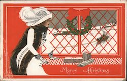 Fade-Away Merry Christmas - Lady in fancy clothing next to a window with a wreath on it with presents Postcard