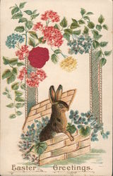 Easter Greetings - A rabbit in a flower box