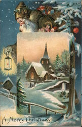 A Merry Christmas - Santa carrying bag of toys and a lantern behind a picture of a church Postcard