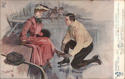 Man Helping Woman with Ice Skates