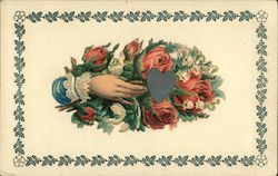Hand Holding a Bunch of Roses and a Heart Postcard