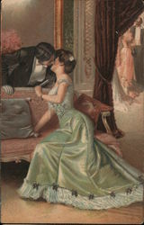 A Man in a Tuxedo Leaning over a Couch, Kissing a Woman in a Green Dress Postcard