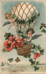 Best Wishes to Your Birthday - two cherubs on a hot air balloon with flowers Postcard