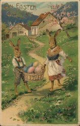 An Easter Greeting - Two Rabbits With Eggs