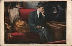 The Traveling Salesman, Man in a Suit Sitting on a Train Seat Postcard