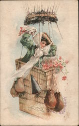 Woman in a hot air balloon basket Postcard