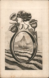 A sailing ship on the ocean viewed thru a ring with a woman's upper profile and three roses