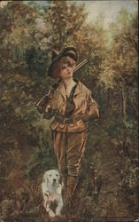 Woman Hunting with Dog and Shotgun