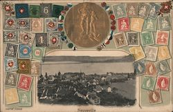 Neuveville. Aerial photo of the town and many Swiss postage stamps.