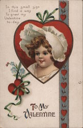 To My Valentine - Young Girl Wearing A Bonnet