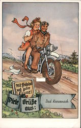 Smiling woman riding behind smiling man on motorcycle Postcard