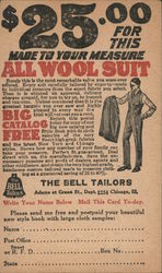 Advertisement for a $25 All Wool Suit at The Bell Tailors in Chicago