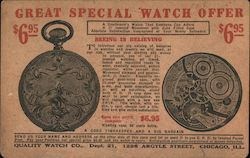 Great Special Watch Offer; Ad From Quality Watch Co. for a Pocketwatch that Costs $6.95