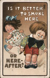 """Is It Better to Smoke Here or Here-After?"" Cartoon of Young Girl and Boy who's holding a Cigar Postcard"