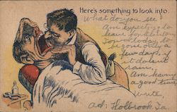 Old-Fashioned Dentist Peering Into a Patient's Mouth Postcard