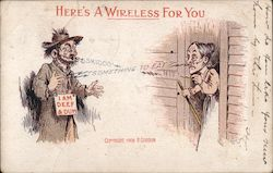 Here's a wireless for you. Man with I am Deef & Dum sign talking to old woman Postcard