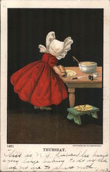 Thursday - Girl Rolling out Dough Postcard