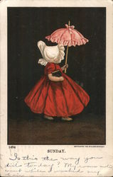 Sunday Little girl in red dress carrying a pink parasol Postcard