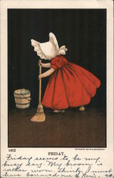Young girl sweeping the floor Postcard