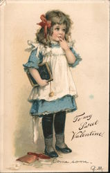 To My Sweet Valentine - Girl With Writing Slate, Pinafore