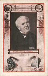 Portrait of Thomas Alva Edison Bordered By Illustrations of His Achievements Postcard