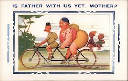 Is Father With Us Yet, Mother? Small Man, Large Woman, and Two Children Riding a Tandem Bike Postcard