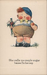 Chubby Boy Holding an Apple and Flowers Postcard