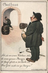 A Heavy Set Man with a Hat and a Cane Postcard