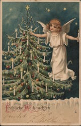 Angel Lighting Christmas Tree with Candles