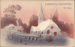 Snow Covered Church - A Peaceful Christmas to You Postcard