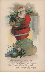 Santa Holding a Basket by the Fireplace Postcard