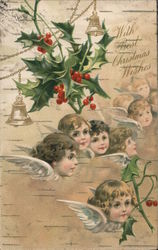 With Best Christmas Wishes - Several Angels with Holly