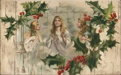 Hearty Christmas Greetings Three Angels and Mistletoe