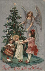 Best Christmas Wishes Angel and Children Decorating Tree