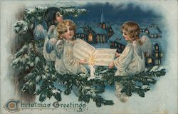 Christmas Greetings - Three Angels with a Song Book